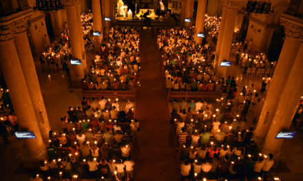 Sea of candles at Easter Vigil in Manila