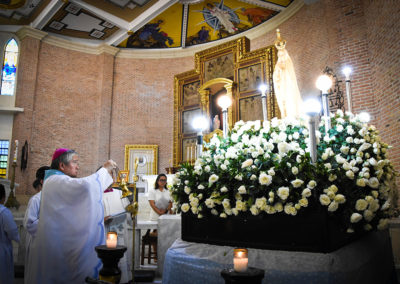 Lingayen-Dagupan Archbishop Socrates Villegas, CBCP President, uses incense as he venerates a statue of Our Lady of Fatima during Mass at the Metropolitan Cathedral of St. John the Evangelist in Dagupan City, May 13, 2017. GLENN MUNOZ LOPEZ