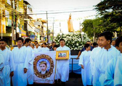 The statue of Our Lady of Fatima is carried during a procession in Dagupan City on Saturday, May 13, 2017. GLENN MUNOZ LOPEZ