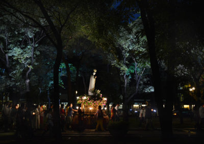 The Our Lady of Fatima statue is carried during a procession inside the University of Santo Tomas campus on Friday, May 12, 2017. Hundreds of devotees gathered at the UST to celebrate the 100th anniversary of the Fatima apparitions. ROY LAGARDE