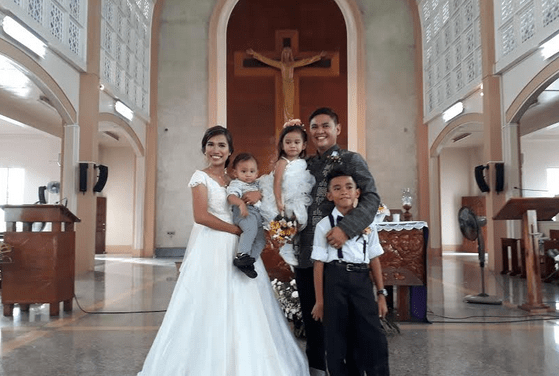 Civil-wed couple tie knot in church after 10 years