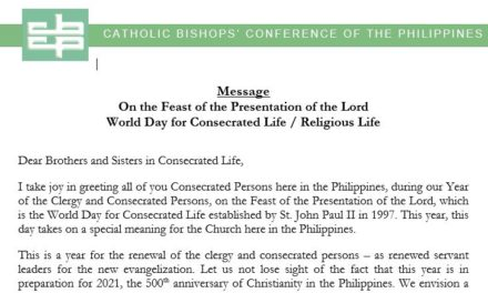 On the Feast of the Presentation of the Lord, World Day for Consecrated Life / Religious Life
