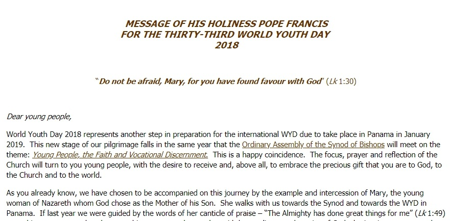 Message of His Holiness Pope Francis for the 33rd World Youth Day 2018