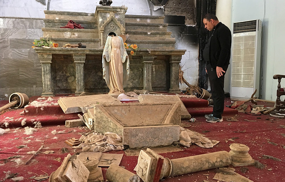 Inside a church destroyed by ISIS in Iraq