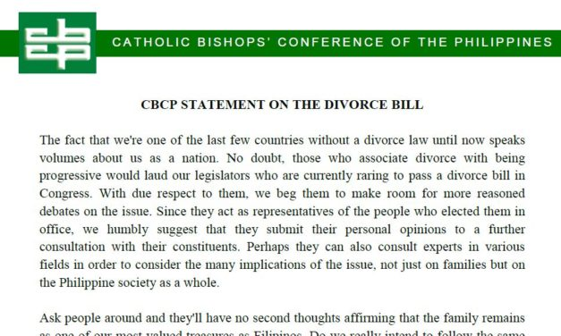 CBCP STATEMENT ON THE DIVORCE BILL