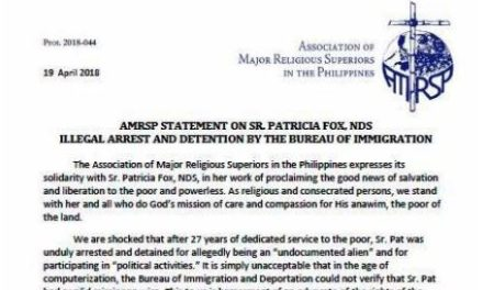 AMRSP statement on Sr. Patricia Fox, NDS illegal arrest and detention by the Bureau of Immigration