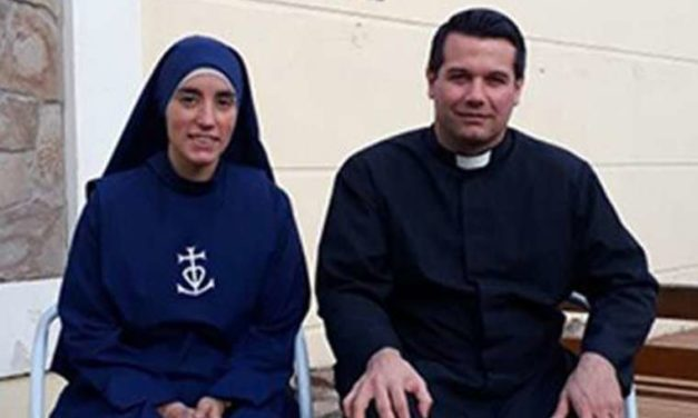 They were going to get married. Now he's a priest and she's a sister