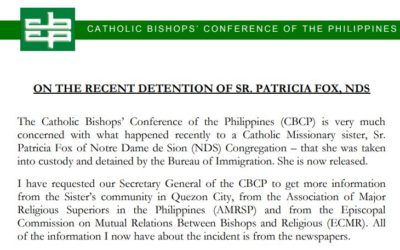 CBCP Statement on the recent detention of Sr Patricia Fox, NDS