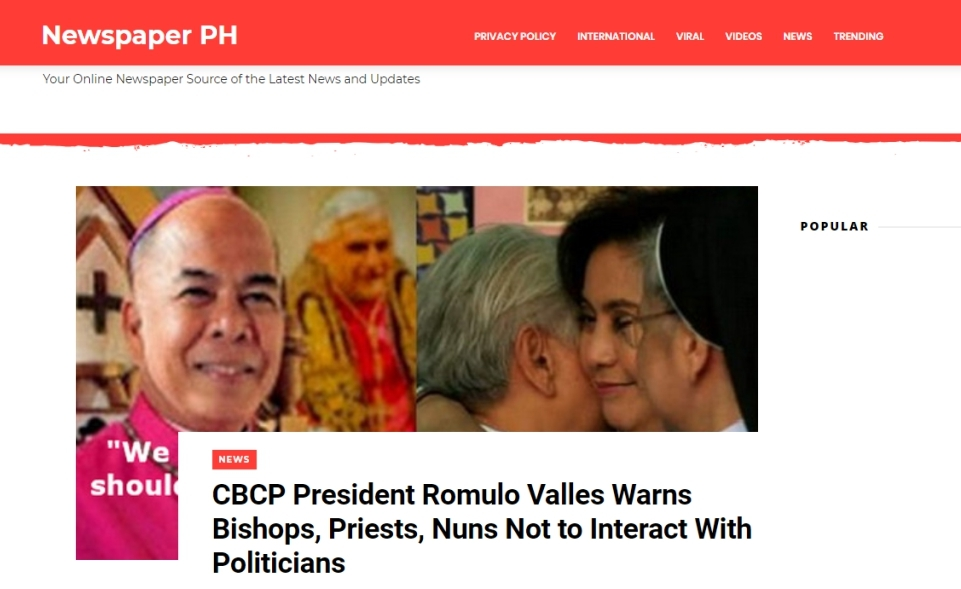 CBCP head falls victim to fake news