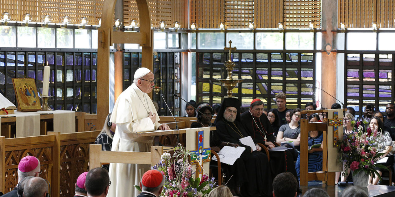 Broken world needs Christian unity, pope tells Christian leaders at WCC