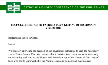 CBCP Statement on  Sr. Patricia Fox's keeping of missionary visa by DOJ