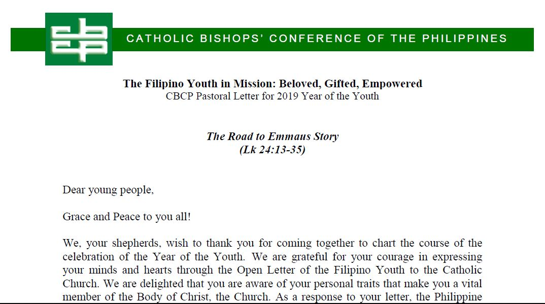 The Filipino Youth in Mission: Beloved, Gifted, Empowered