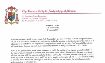 Ash Wednesday Pastoral Letter of Cardinal Luis Antonio Tagle