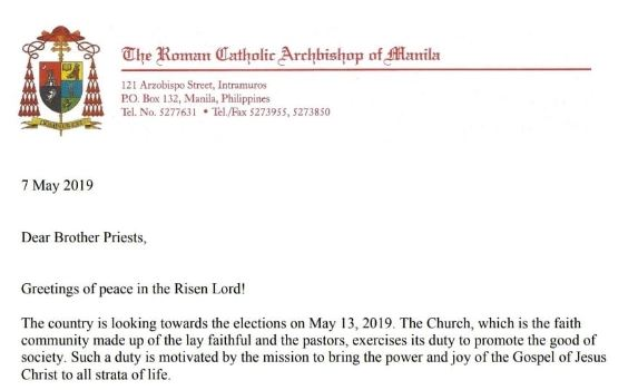 Letter to Priests on the 2019 Elections