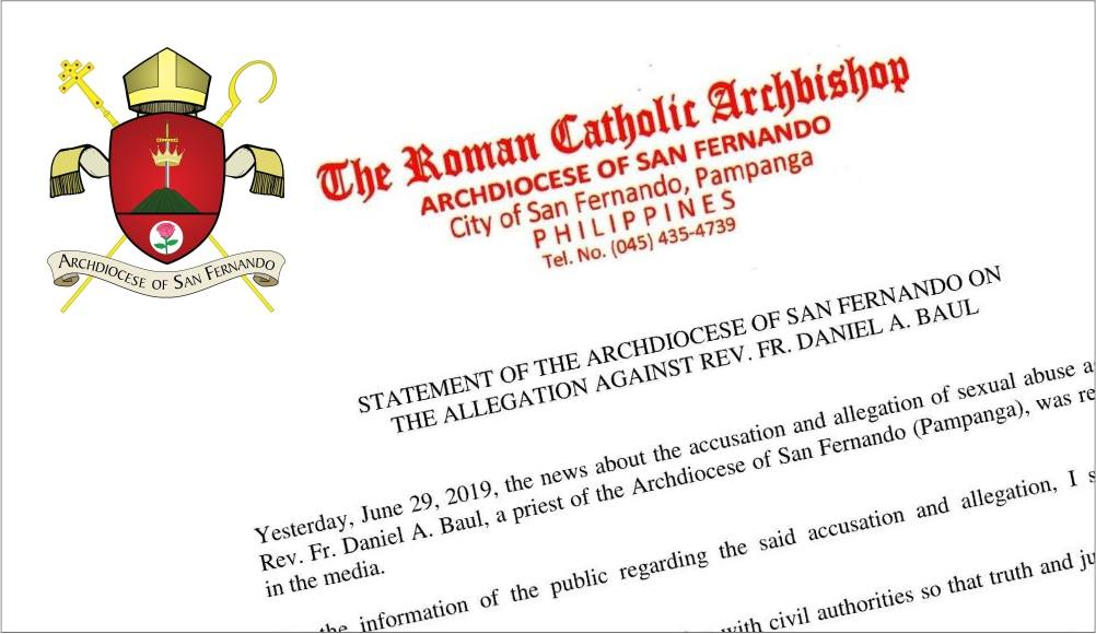Pampanga archdiocese relieves priest accused of abuse