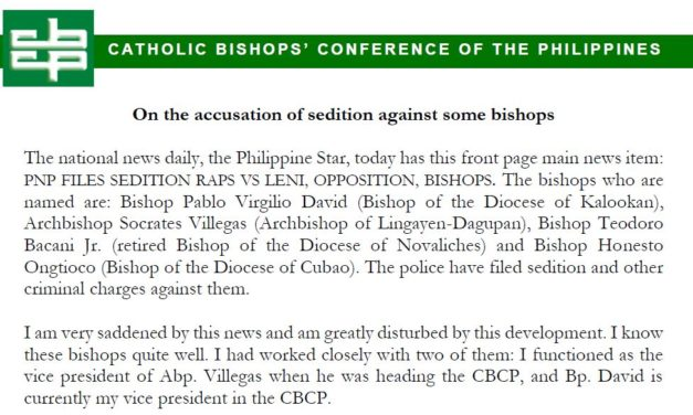 On the accusation of sedition against some bishops