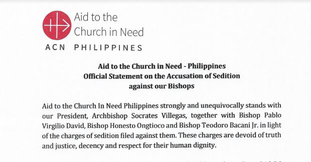 Aid to the Church in Need – Philippines Official Statement on the Accusation of Sedition against our Bishops