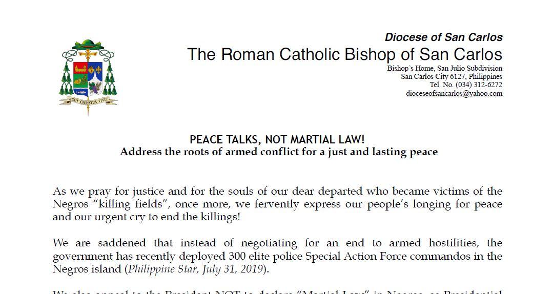 PEACE TALKS, NOT MARTIAL LAW!