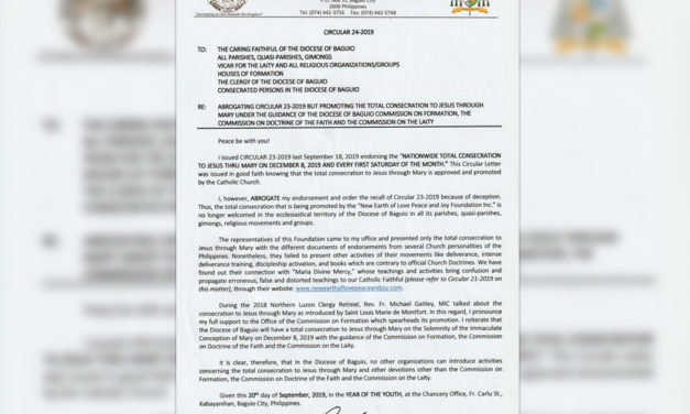 Baguio diocese sever ties with Maria Divine Mercy-linked group