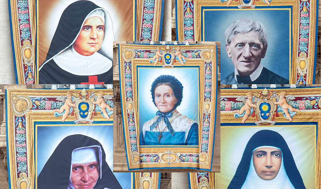 Banners unfurled as faithful share stories of five saints