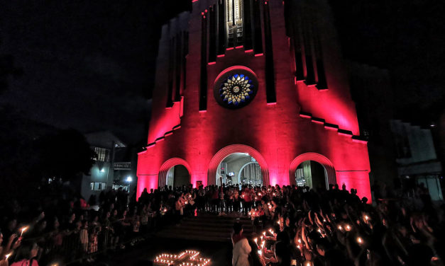Churches lit up red for persecuted Christians