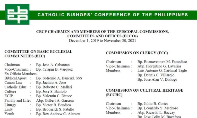 Chairmen and Members of the CBCP Commissions, Committees and Offices