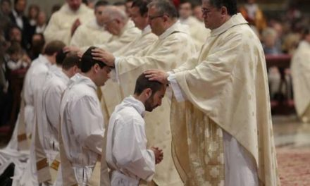 Pope urges new priests to serve with joy, never sadness