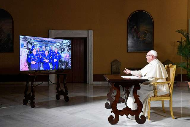Pope talks meaning of life in call with Space Station astronauts
