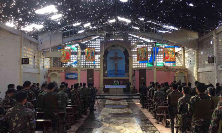 Soldiers attend Mass inside cathedral desecrated by Maute