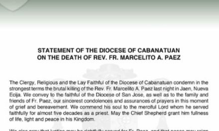 Statement of the Diocese of Cabanatuan on the death of Rev. Fr. Marcelito A. Paez