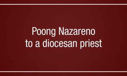 Poong Nazareno to a diocesan priest