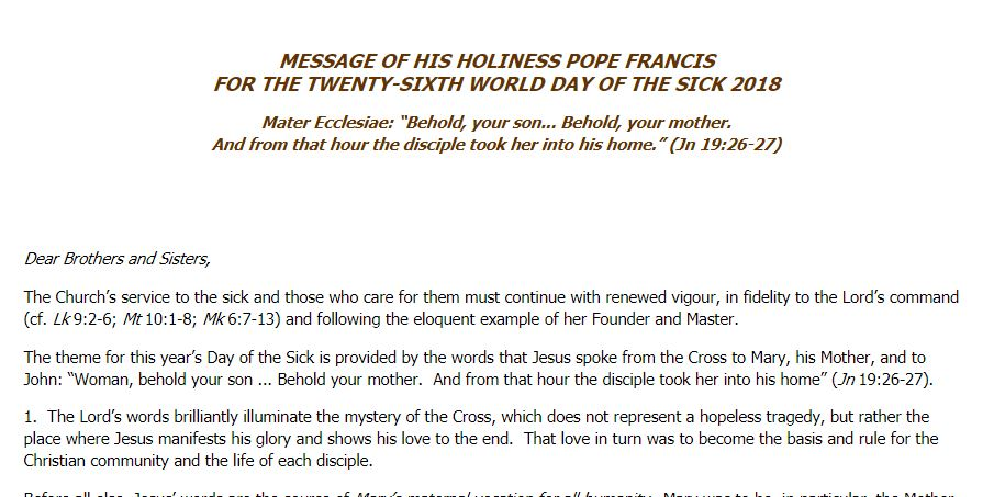Message of Pope Francis for the 26th World Day of the Sick 2018