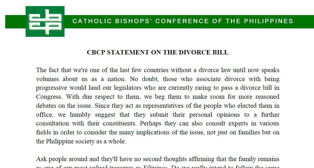 CBCP STATEMENT ON THE DIVORCE BILL