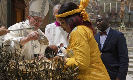 Faith is passed on at home, pope tells parents at baptism