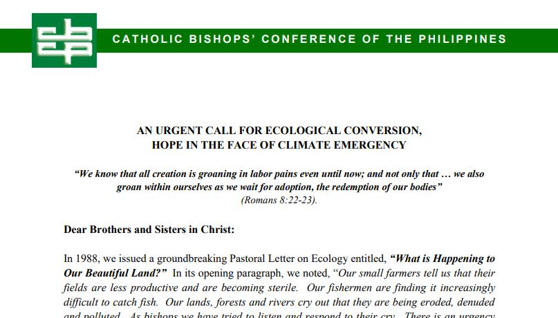 An urgent call for ecological conversion, hope in the face of climate emergency
