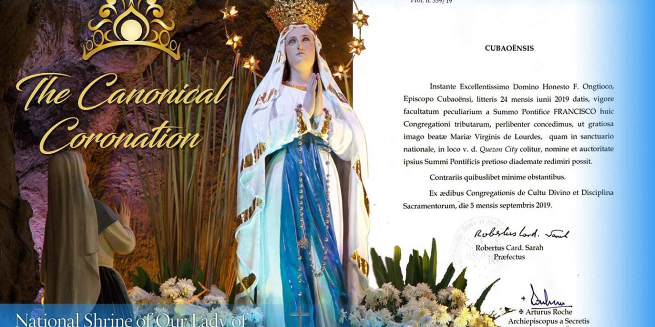 Pope approves canonical coronation of Our Lady of Lourdes in QC church