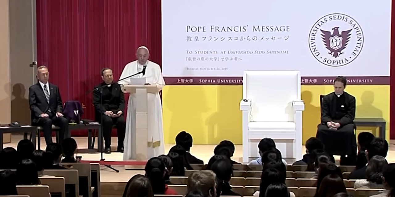 University should not be for the privileged few, Pope Francis says in Japan