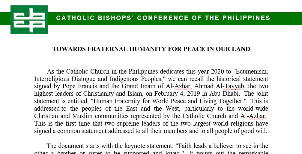 Towards fraternal humanity for peace in our land
