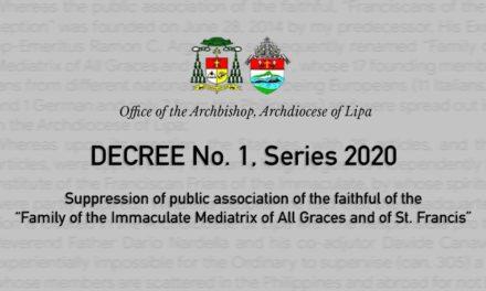 Lipa archdiocese dissolves 'Mediatrix' public association