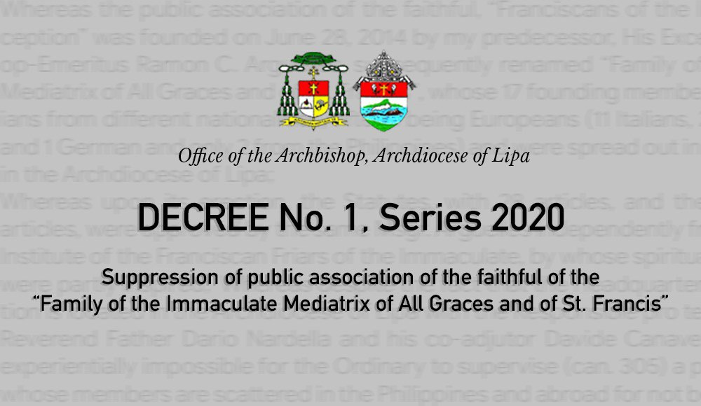 Lipa archdiocese dissolves 'Mediatrix' public association