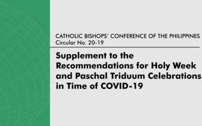 Supplement to the Recommendations for Holy Week and Paschal Triduum Celebrations in Time of Covid-19