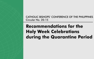 Recommendations for the Celebrations of the Holy Week During the Quarantine  Period