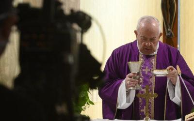 Pope Francis prays for media covering the coronavirus pandemic