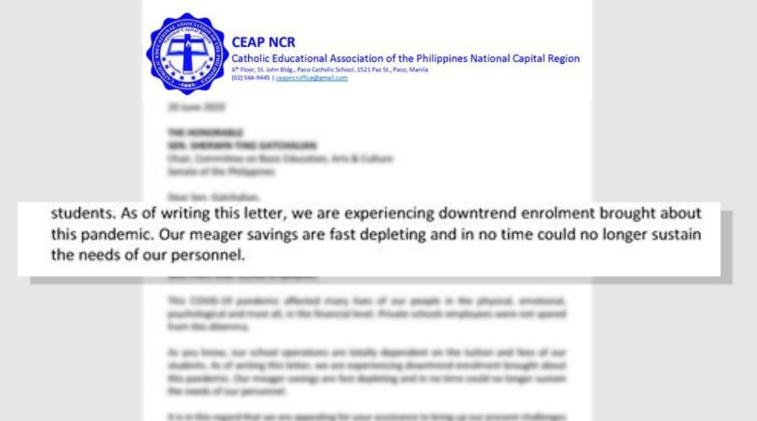 Catholic schools ask gov't to include employees in SAP cash aid