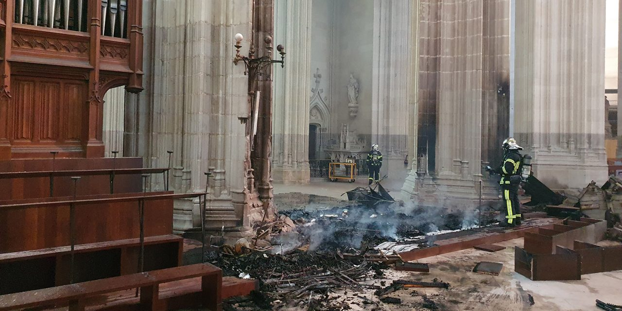 French cathedral burns in suspected arson fire