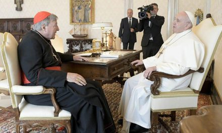 Pope Francis meets with Cardinal Pell at the Vatican