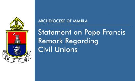 Statement on Pope Francis remark regarding civil unions