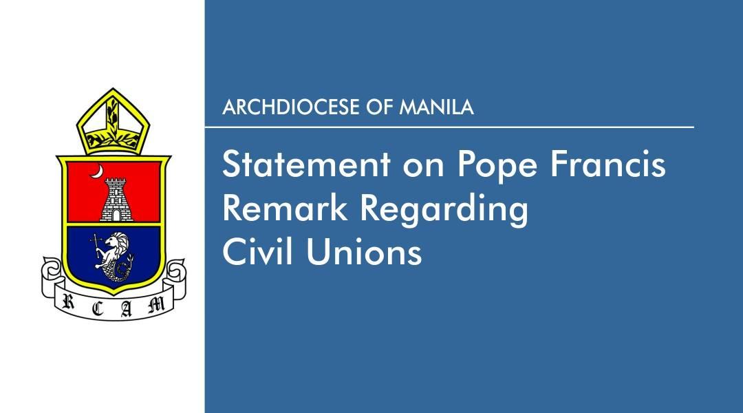 Statement on Pope Francis remark regarding civil unions