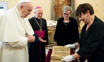 Pope Francis presented with historic prayer manuscript saved from Islamic State