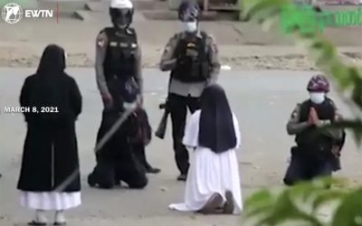 Myanmar Catholic nun says Eucharistic adoration gave her strength to kneel before police